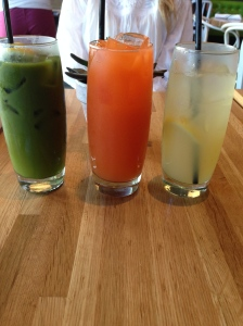 Green Arnie (matcha lemonade), beet and carrot juice, and a honey lemonade