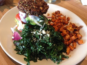 inside out quinoa burger with kale and sweet potatoes