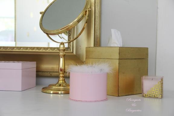 vanity mirror. pink n gold