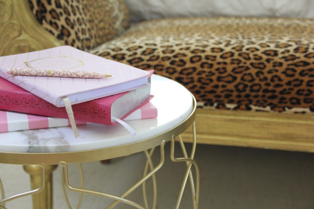 cheetah print and books as decor