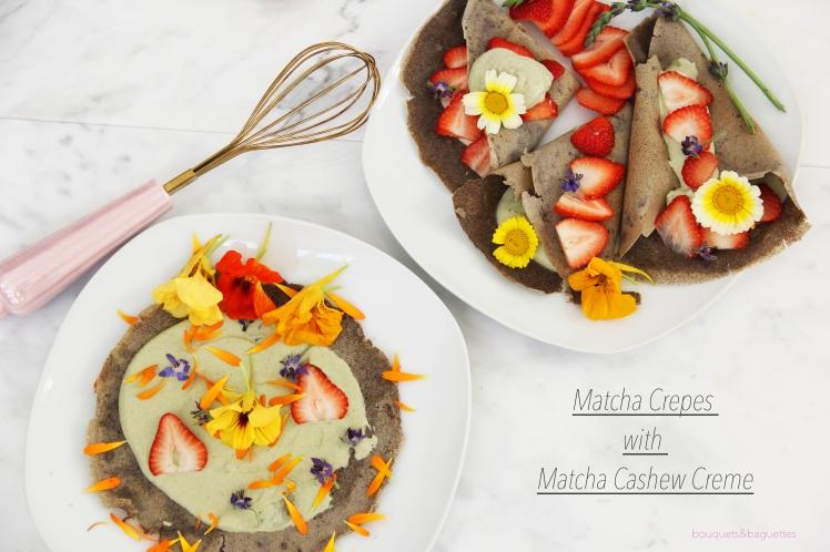 Matcha Crepes with Matcha Cashew Creme (Gluten Free, Dairy Free)